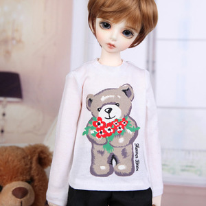 KDF Long Sleeve T-shirts White Printed Bear Baby